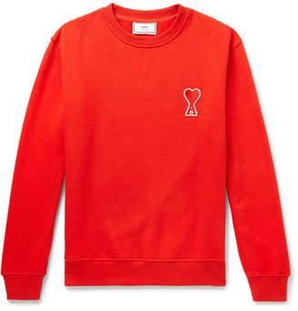Ami Logo-Appliquéd Fleece-Back Cotton-Jersey Sweatshirt