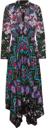 Saloni - Cerise Asymmetric Printed Silk-crepe Maxi Dress - Purple $655 thestylecure.com