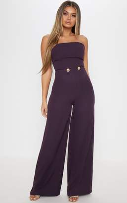PrettyLittleThing Plum Woven Button Detail Jumpsuit