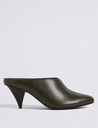Marks and Spencer Leather Cone Heel Mule Shoes
