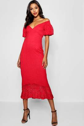 boohoo Tall Off The Shoulder Lace Midi Dress