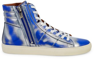 Bally Metallic Patent-Leather High-Top Sneakers