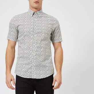 Michael Kors Men's Slim Fit Floral Print Short Sleeve Shirt
