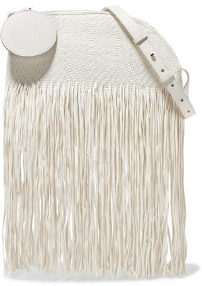 Roksanda Eartha Medium Fringed Woven Leather Shoulder Bag - White