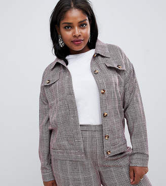 Glamorous Curve trucker jacket in princde of wales check co-ord