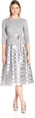 Alex Evenings Women's Tea Length a-Line Dress with Tie Belt (Petite and Regular Sizes)