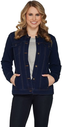 Denim & Co. Comfy Knit Button Front Jean Jacket with Rib Trim