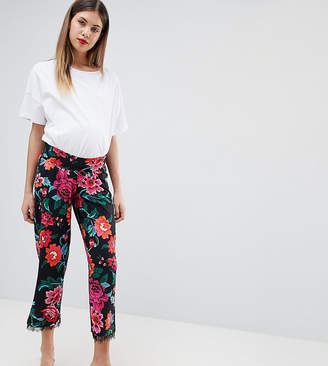 Asos DESIGN Maternity low rise bump band pyjama pant in jersey with lace hem in floral print