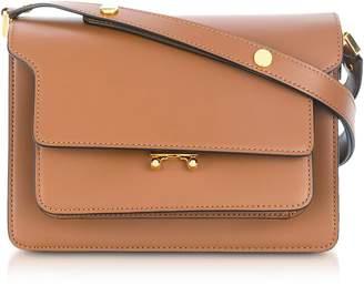 Marni Gold Brown Saffiano Leather Trunk Shoulder Bag