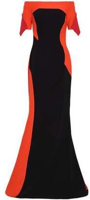 Antonio Berardi Off-the-shoulder Color-block Crepe And Cady Gown