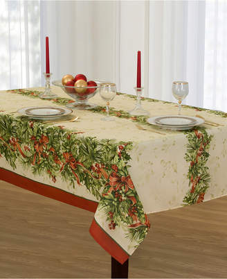 Elrene Holly Traditions Double Border Tablecloth Collection