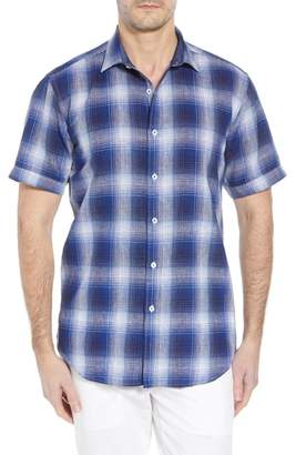 Bugatchi Shaped Fit Plaid Linen Blend Sport Shirt