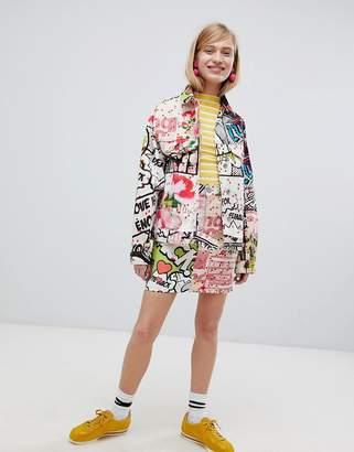 Asos DESIGN denim skirt in art print two-piece