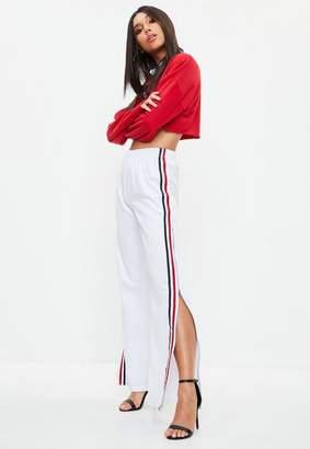 Missguided White Zip Through Stripe Wide Leg Trousers, White