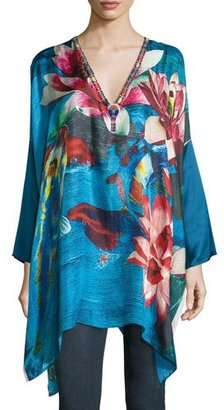 Johnny Was Water Lily Boxy Silk Top, Plus Size $265 thestylecure.com