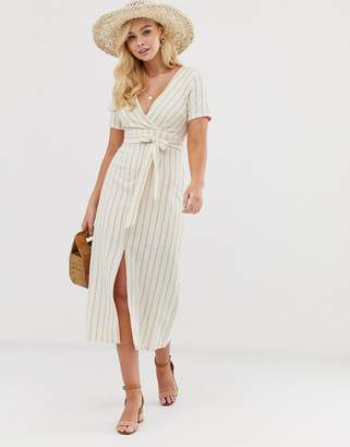 Gilli wrap front midi dress with tie detail in stripe