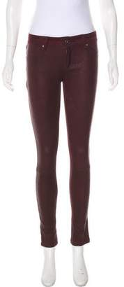 DL1961 Leather-Paneled Low-Rise Leggings