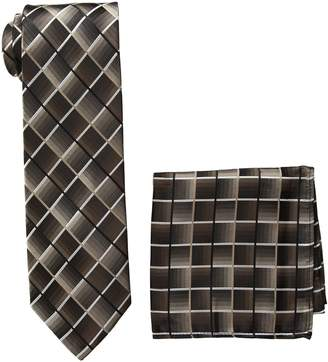 Pierre Cardin Men's Shaded Grid Tie and Pocket Square, black/taupe