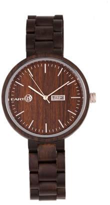 Earth Wood Mimosa Wood Bracelet Watch W/Day/Date Brown 39Mm