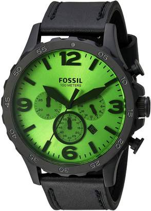 Fossil Men's Quartz Stainless Steel and Leather Automatic Watch, Color:Black (Model: JR1519)
