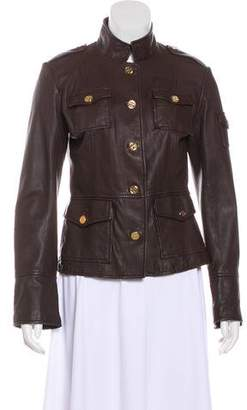 Tory Burch Leather Stand Collar Jacket