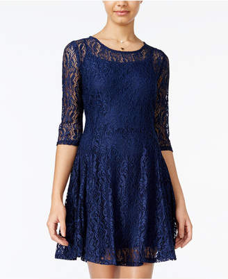 Fishbowl Juniors' Lace Illusion A-Line Dress