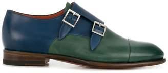 Santoni bicolour double monk strap shoes