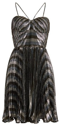 Maria Lucia Hohan Gaia Striped Pleated Lame Mini Dress - Womens - Silver Multi