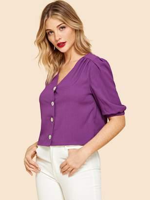 55c8dc415128f Elastic Cuff Sleeve Tops - ShopStyle