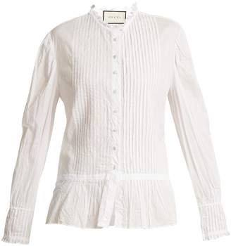 Gucci Pintucked wrinkled cotton-voile blouse