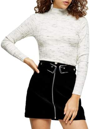 Topshop PETITE Ribbed Marled-Knit Funnel Neck Top