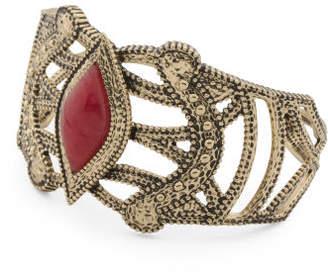 Handmade In Thailand Raspberry Quartz Bronze Cuff Bracelet