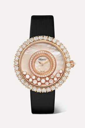 Chopard Happy Dreams 36mm 18-karat Rose Gold, Satin, Diamond And Mother-of-pearl Watch