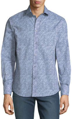 Thomas Dean Men's Woven C3 Tech Printed Button-Down Shirt