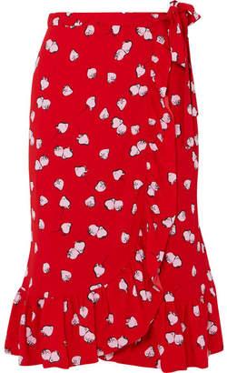Miu Miu Ruffled Printed Crepe Wrap Skirt - Red