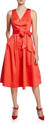 Ted Baker V-Neck Button-Down Stretch-Cotton Midi Dress