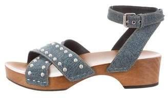 Saint Laurent Studded Denim Sandals