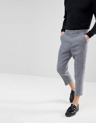 Asos Design Tapered Smart Trousers in 100% Wool Harris Tweed In Light Grey Check