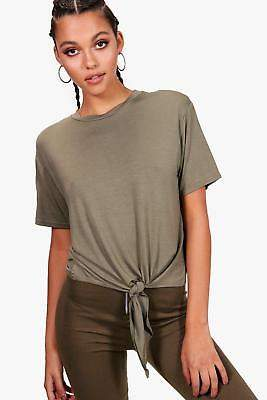 boohoo NEW Womens Tie Front T-Shirt in Polyester