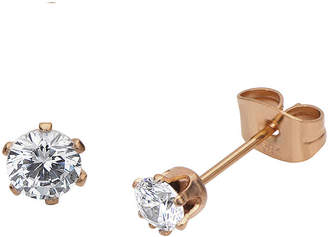 JCPenney FINE JEWELRY Cubic Zirconia 3mm Stainless Steel and Rose-Tone IP Stud Earrings