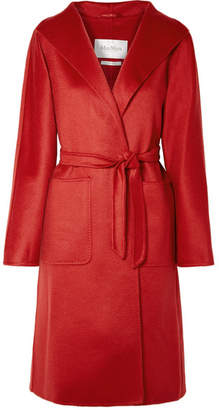 Max Mara Lilia Belted Brushed-cashmere Coat - Red