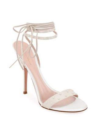 Gianvito Rossi Strappy Napa/Satin Sandals with Pearly Details
