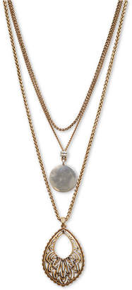 "Lucky Brand Two-Tone Layered Pendant Necklace, 16-1/2"" + 2"" extender"