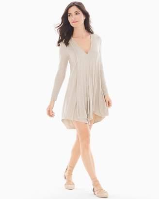Elan International Long Sleeve V-Neck Short Dress Oatmeal