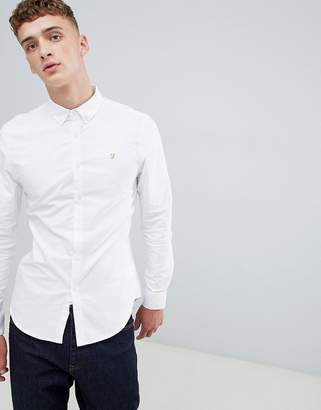 Farah Brewer Slim Fit Oxford Shirt In White