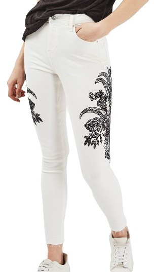 TopshopWomen's Topshop Jamie Floral Embroidered Jeans
