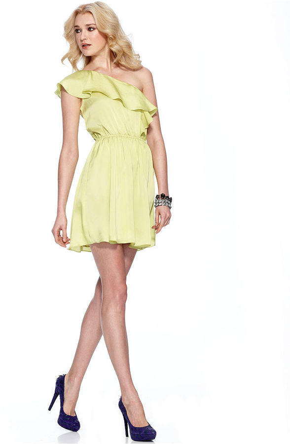 BCBGeneration Dress, Sleeveless One Shoulder Ruffle A Line One Shoulder Ruffle