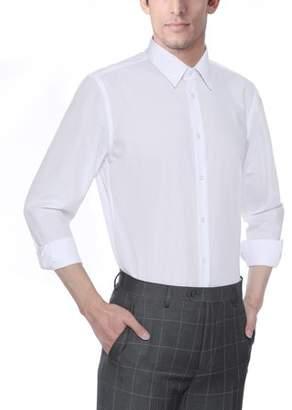 Verno Mens Slim Fit Spandex Long Sleeve Dress Shirt