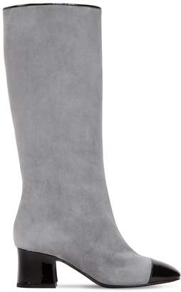 60mm Suede & Patent Leather Tall Boots