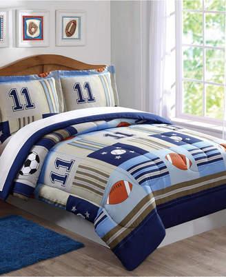 Pem America Laura Hart Kids Denim and Khaki Sports Twin Comforter Set Bedding